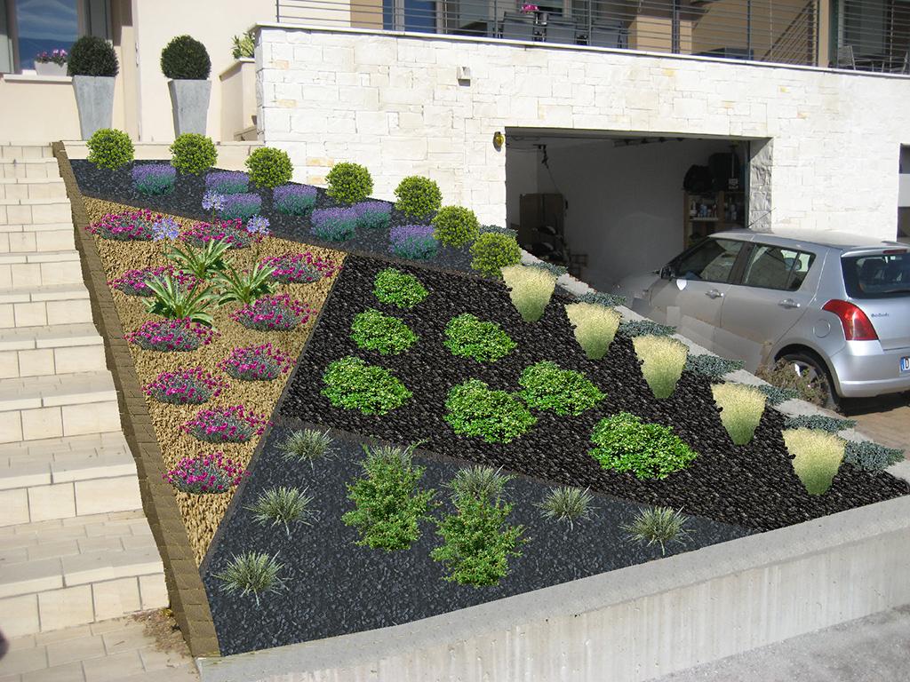Estremamente Progetto aiuola con pacciamatura in ciottoli e graniglie - Verde Idea RI41