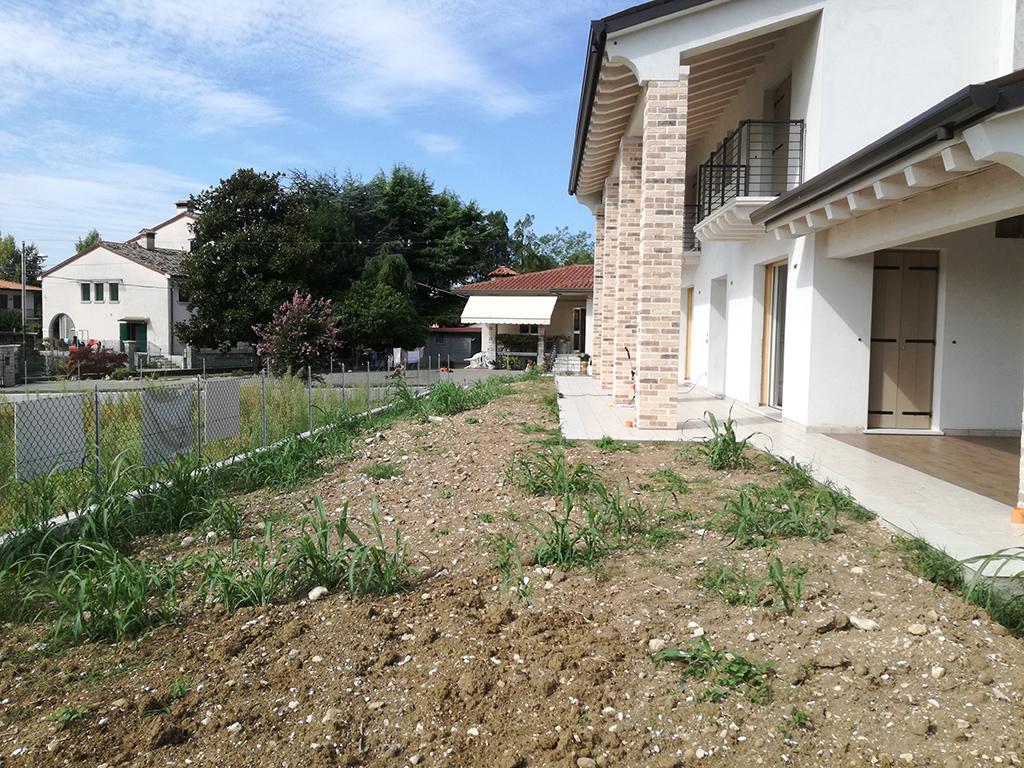Giardino con muretta di contenimento in tufo e semina for Realizzazione giardini privati