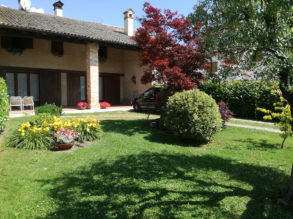 Immagine realizzazione giardino con percorso pedonale e carrabile in provincia di Vicenza