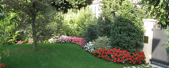 Progetto piccolo giardino con fioriture stagionali verde for Immagini di piccoli giardini