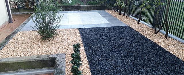 Foto realizzazione giardino con graniglie a Mussolente